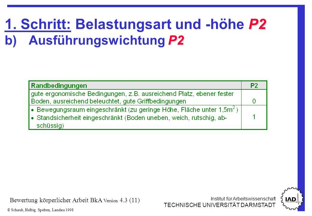 Institut für Arbeitswissenschaft TECHNISCHE UNIVERSITÄT DARMSTADT © Schaub, Helbig, Spelten, Landau 1998 Bewertung körperlicher Arbeit BkA Version 4.3 (11) P2 P2 1.