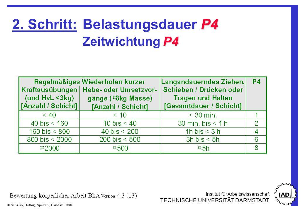 Institut für Arbeitswissenschaft TECHNISCHE UNIVERSITÄT DARMSTADT © Schaub, Helbig, Spelten, Landau 1998 Bewertung körperlicher Arbeit BkA Version 4.3 (13) P4 P4 2.