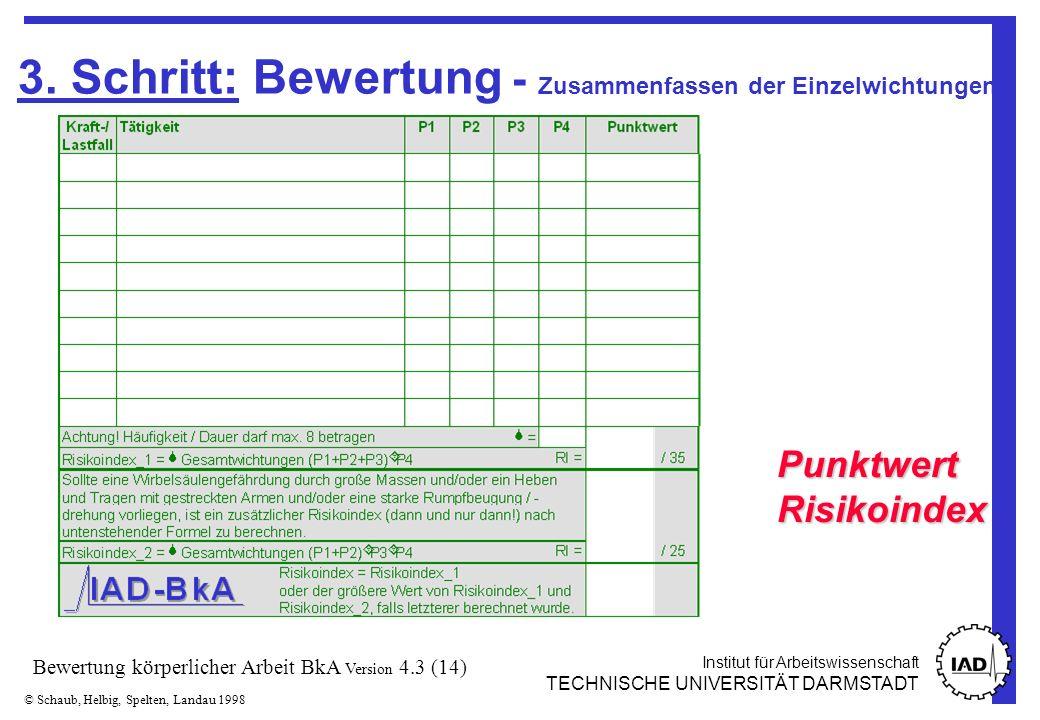 Institut für Arbeitswissenschaft TECHNISCHE UNIVERSITÄT DARMSTADT © Schaub, Helbig, Spelten, Landau 1998 Bewertung körperlicher Arbeit BkA Version 4.3 (14) 3.