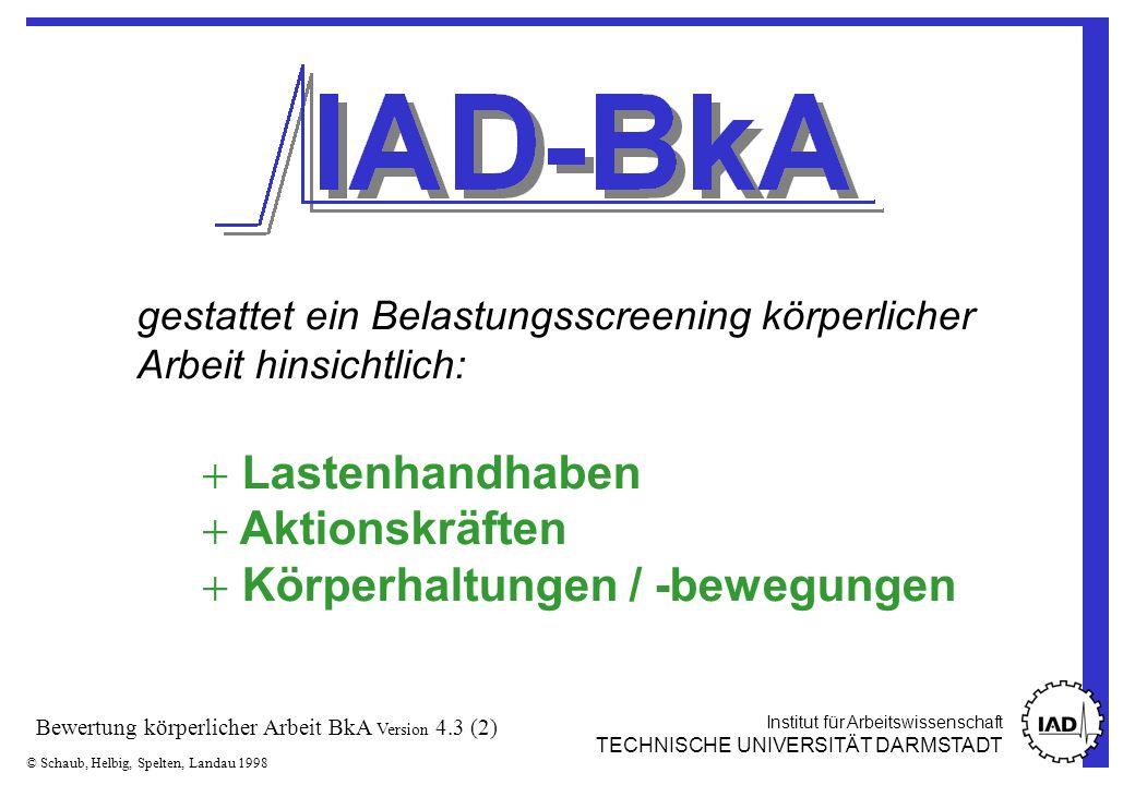 Institut für Arbeitswissenschaft TECHNISCHE UNIVERSITÄT DARMSTADT © Schaub, Helbig, Spelten, Landau 1998 Bewertung körperlicher Arbeit BkA Version 4.3 (23) -B ±C±C ±B,C ±B±B ±A/B ±B,C X X X X X X Spielvarianten