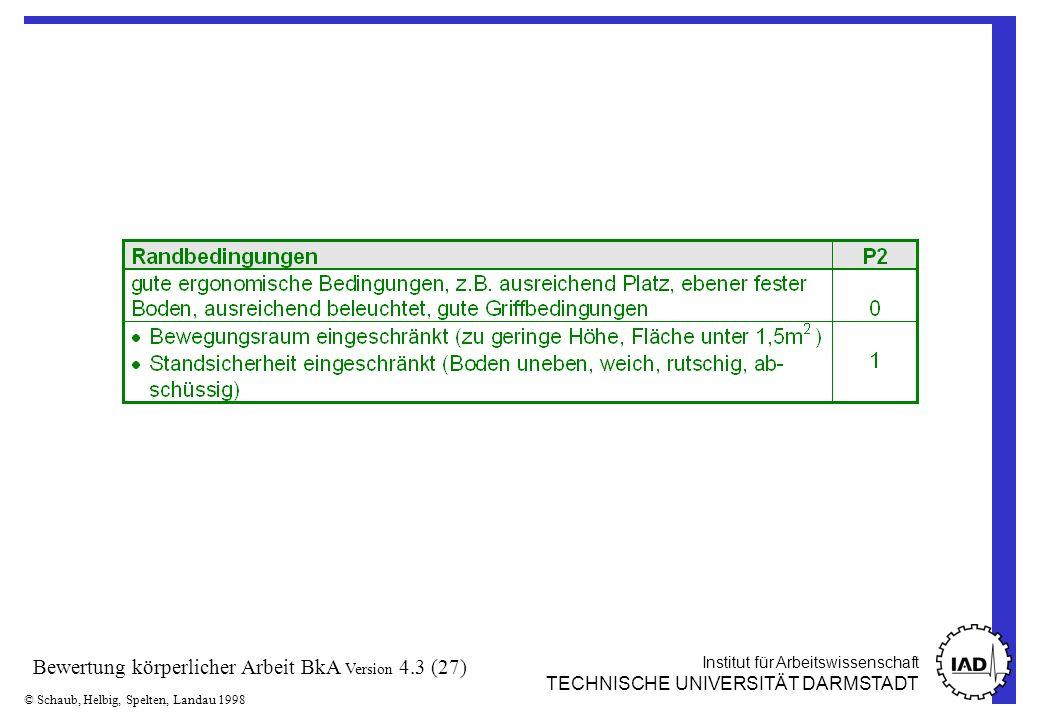 Institut für Arbeitswissenschaft TECHNISCHE UNIVERSITÄT DARMSTADT © Schaub, Helbig, Spelten, Landau 1998 Bewertung körperlicher Arbeit BkA Version 4.3 (27)