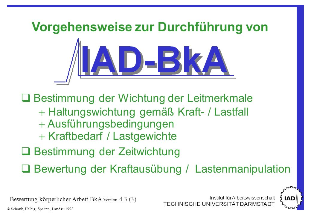 Institut für Arbeitswissenschaft TECHNISCHE UNIVERSITÄT DARMSTADT © Schaub, Helbig, Spelten, Landau 1998 Bewertung körperlicher Arbeit BkA Version 4.3 (24) Anhand des errechneten Punktwertes und der folgenden Tabelle kann eine grobe Bewertung vorgenommen werden.