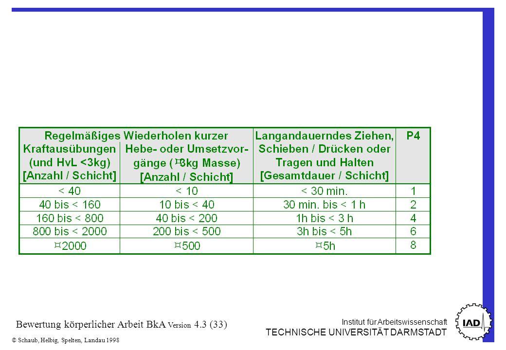 Institut für Arbeitswissenschaft TECHNISCHE UNIVERSITÄT DARMSTADT © Schaub, Helbig, Spelten, Landau 1998 Bewertung körperlicher Arbeit BkA Version 4.3 (33)