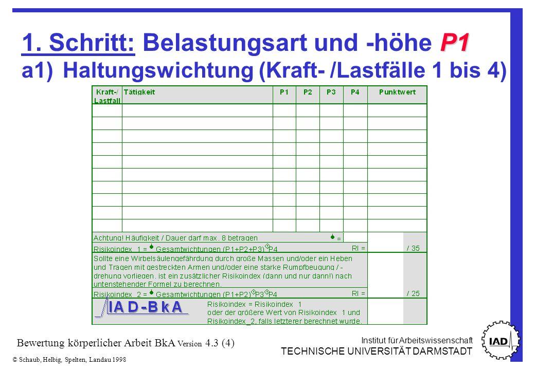 Institut für Arbeitswissenschaft TECHNISCHE UNIVERSITÄT DARMSTADT © Schaub, Helbig, Spelten, Landau 1998 Bewertung körperlicher Arbeit BkA Version 4.3 (15) Anhand des errechneten Punktwertes und der folgenden Tabelle kann eine grobe Bewertung vorgenommen werden.