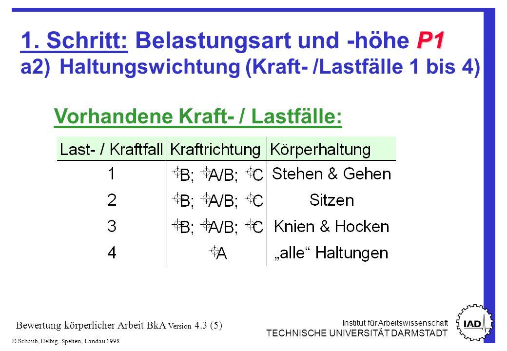 Institut für Arbeitswissenschaft TECHNISCHE UNIVERSITÄT DARMSTADT © Schaub, Helbig, Spelten, Landau 1998 Bewertung körperlicher Arbeit BkA Version 4.3 (16) 3.