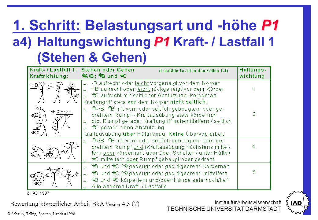 Institut für Arbeitswissenschaft TECHNISCHE UNIVERSITÄT DARMSTADT © Schaub, Helbig, Spelten, Landau 1998 Bewertung körperlicher Arbeit BkA Version 4.3 (7) P1 P1 1.