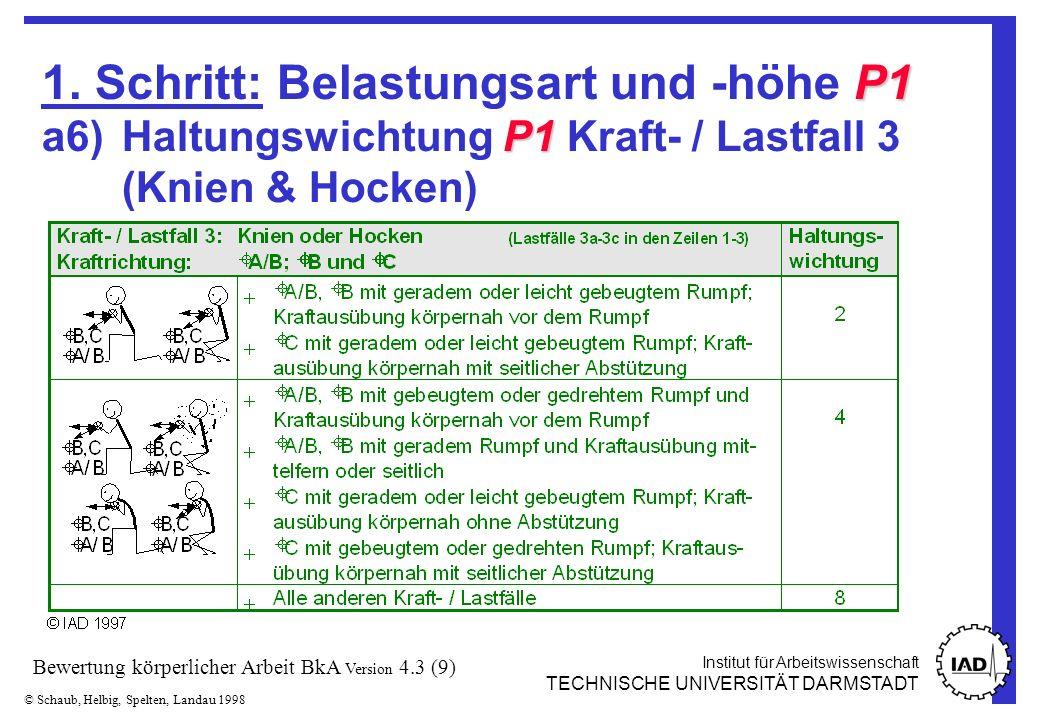 Institut für Arbeitswissenschaft TECHNISCHE UNIVERSITÄT DARMSTADT © Schaub, Helbig, Spelten, Landau 1998 Bewertung körperlicher Arbeit BkA Version 4.3 (30)