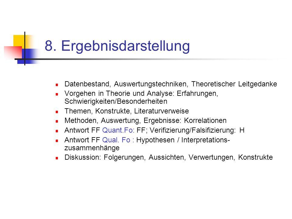 8. Ergebnisdarstellung Datenbestand, Auswertungstechniken, Theoretischer Leitgedanke Vorgehen in Theorie und Analyse: Erfahrungen, Schwierigkeiten/Bes