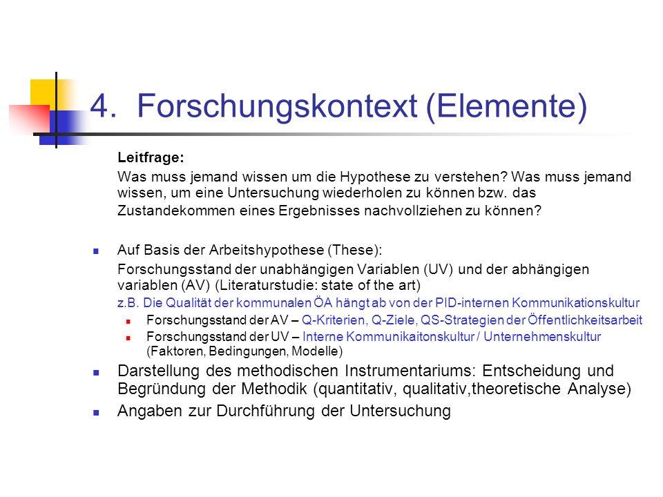 4. Forschungskontext (Elemente) Leitfrage: Was muss jemand wissen um die Hypothese zu verstehen? Was muss jemand wissen, um eine Untersuchung wiederho