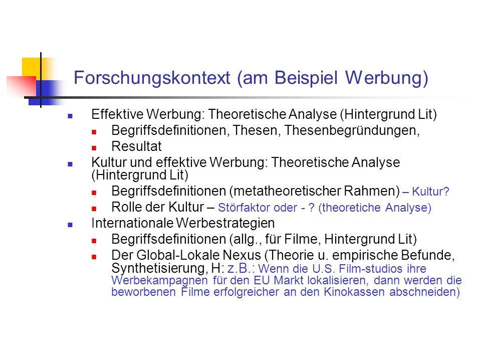 Forschungskontext (am Beispiel Werbung) Effektive Werbung: Theoretische Analyse (Hintergrund Lit) Begriffsdefinitionen, Thesen, Thesenbegründungen, Resultat Kultur und effektive Werbung: Theoretische Analyse (Hintergrund Lit) Begriffsdefinitionen (metatheoretischer Rahmen) – Kultur.