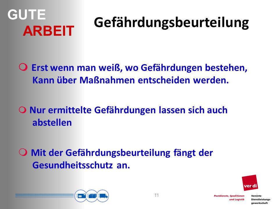 GUTE ARBEIT Gefährdungsbeurteilung 11 Erst wenn man weiß, wo Gefährdungen bestehen, Kann über Maßnahmen entscheiden werden.