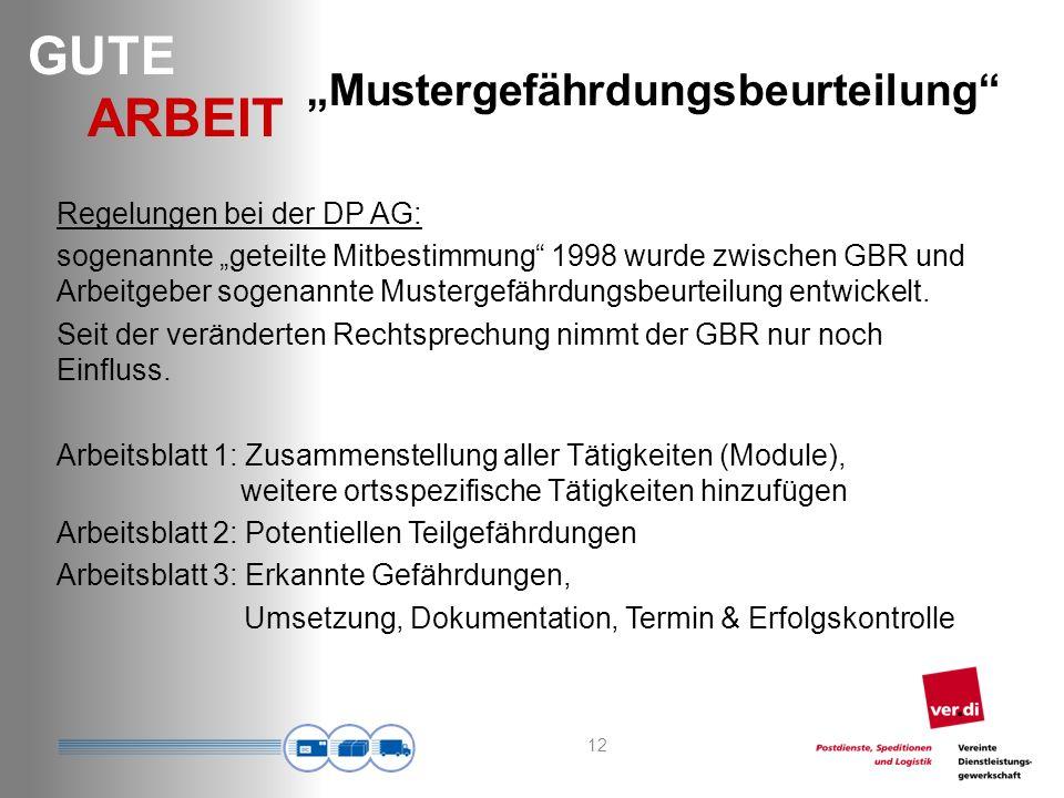GUTE ARBEIT Mustergefährdungsbeurteilung Regelungen bei der DP AG: sogenannte geteilte Mitbestimmung 1998 wurde zwischen GBR und Arbeitgeber sogenannte Mustergefährdungsbeurteilung entwickelt.