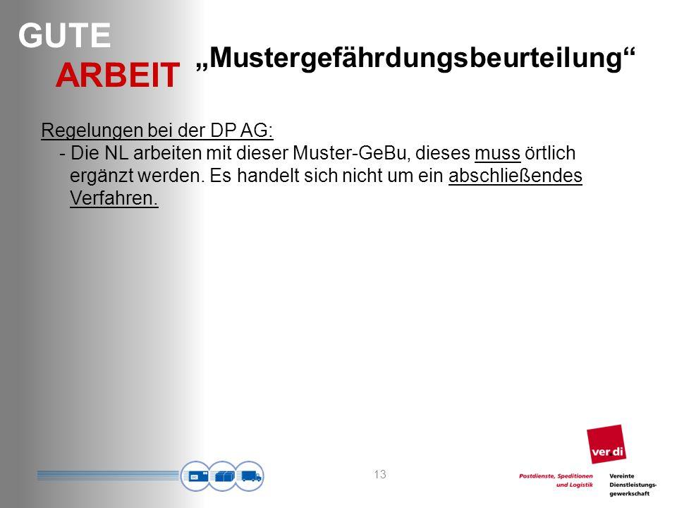 GUTE ARBEIT Regelungen bei der DP AG: - Die NL arbeiten mit dieser Muster-GeBu, dieses muss örtlich ergänzt werden.