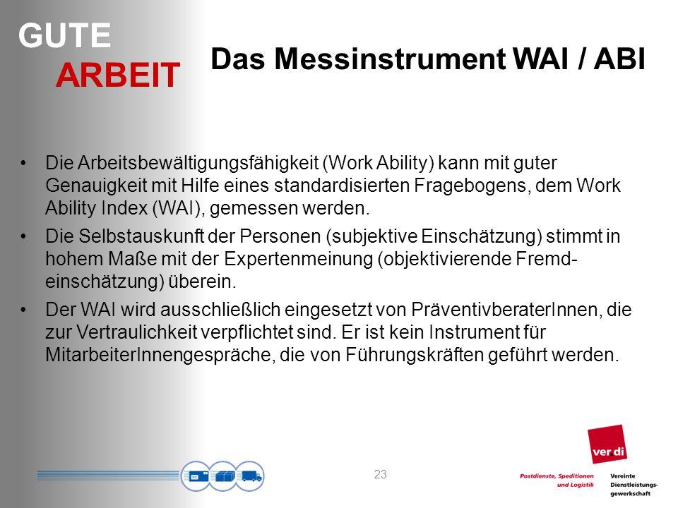 GUTE ARBEIT 23 Das Messinstrument WAI / ABI Die Arbeitsbewältigungsfähigkeit (Work Ability) kann mit guter Genauigkeit mit Hilfe eines standardisierten Fragebogens, dem Work Ability Index (WAI), gemessen werden.
