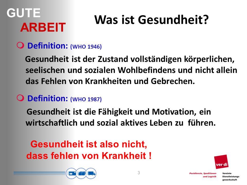 GUTE ARBEIT 24 Freiburger Beschwerdeliste (je höher der Wert, desto häufiger die Beschwerden) Alle paar Tage & fast täglich ÖPNV 2004 ÖPNV 2003 Call- Center ÖPNV 2004 ÖPNV 2003 Kopfschmerzen14,3%20,5%2,252,592,74 Aufregung am ganzen Körper14,9%37,9%2,342,892,66 Herzklopfen bei geringer Anstrengung6,2% 9,5%1,701,721,84 Atemnot bei geringer körp.