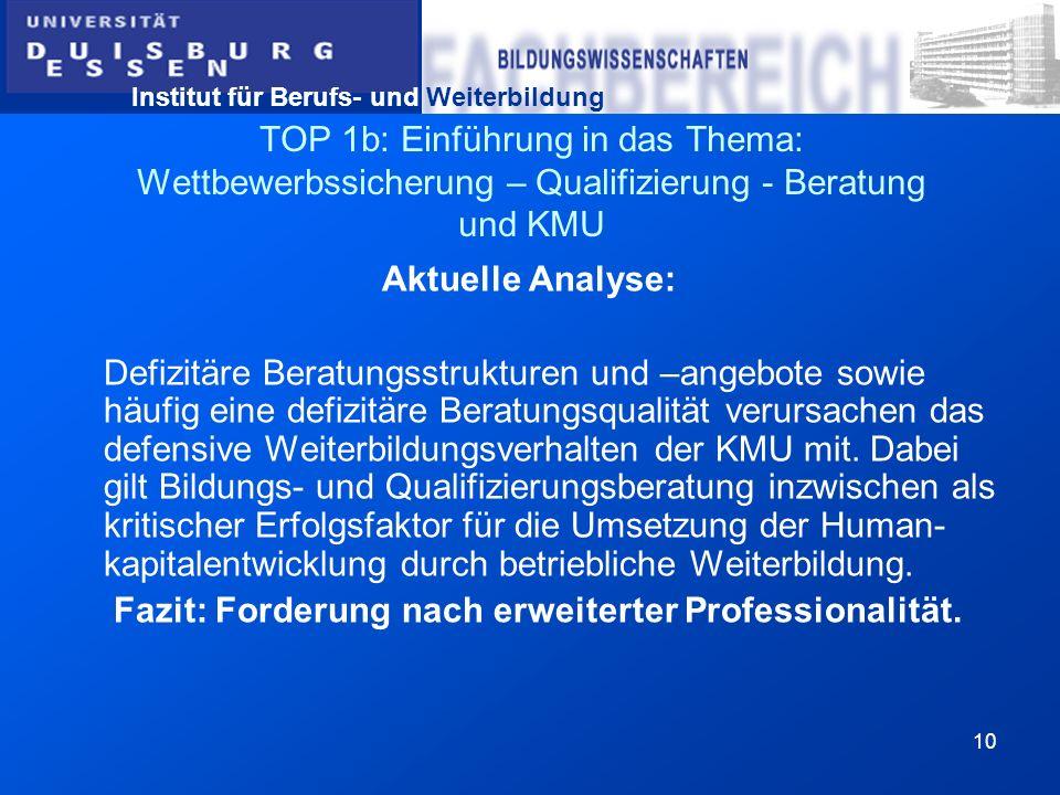 Institut für Berufs- und Weiterbildung 10 TOP 1b: Einführung in das Thema: Wettbewerbssicherung – Qualifizierung - Beratung und KMU Aktuelle Analyse: