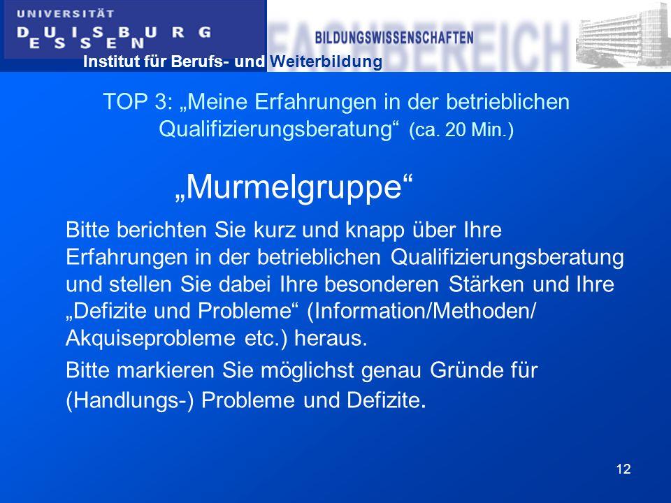 Institut für Berufs- und Weiterbildung 12 TOP 3: Meine Erfahrungen in der betrieblichen Qualifizierungsberatung (ca. 20 Min.) Murmelgruppe Bitte beric