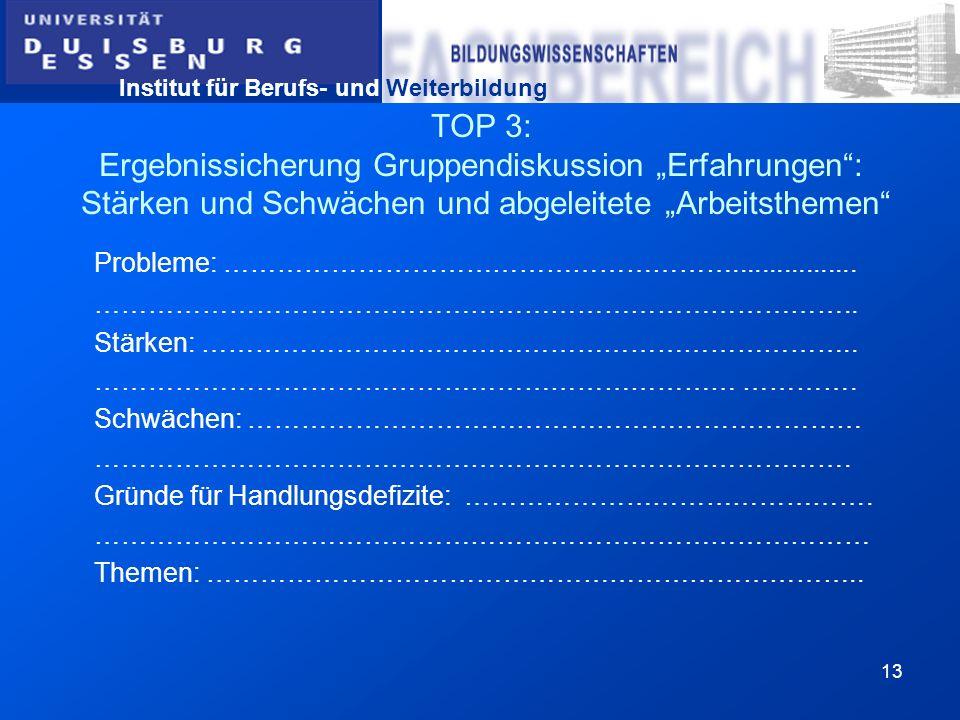 Institut für Berufs- und Weiterbildung 13 TOP 3: Ergebnissicherung Gruppendiskussion Erfahrungen: Stärken und Schwächen und abgeleitete Arbeitsthemen