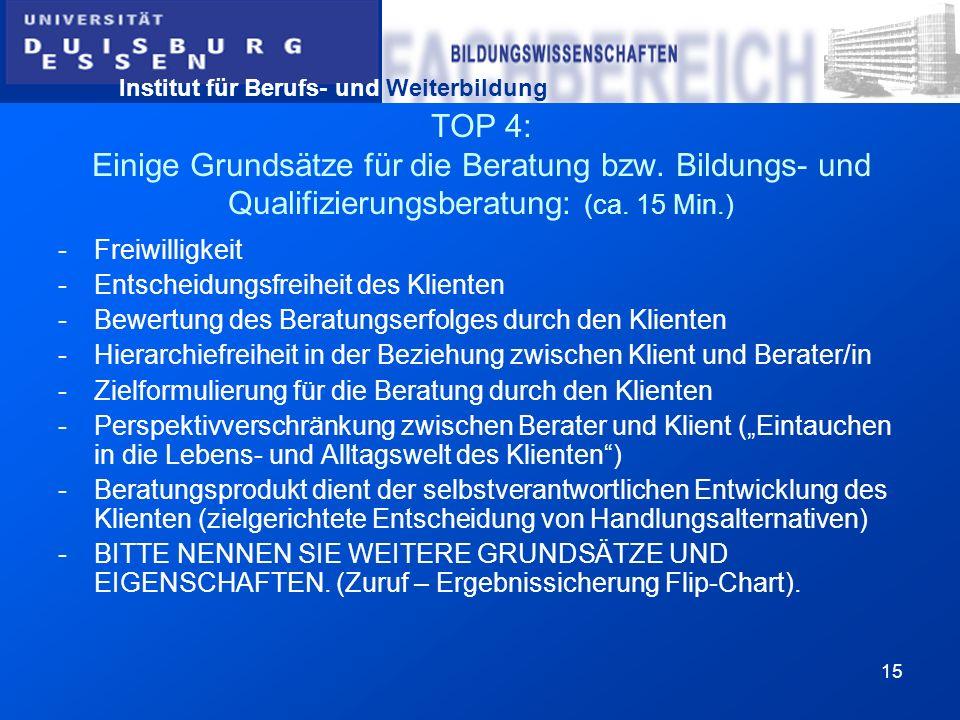 Institut für Berufs- und Weiterbildung 15 TOP 4: Einige Grundsätze für die Beratung bzw. Bildungs- und Qualifizierungsberatung: (ca. 15 Min.) -Freiwil