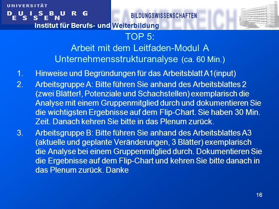 Institut für Berufs- und Weiterbildung 16 TOP 5: Arbeit mit dem Leitfaden-Modul A Unternehmensstrukturanalyse (ca. 60 Min.) 1.Hinweise und Begründunge
