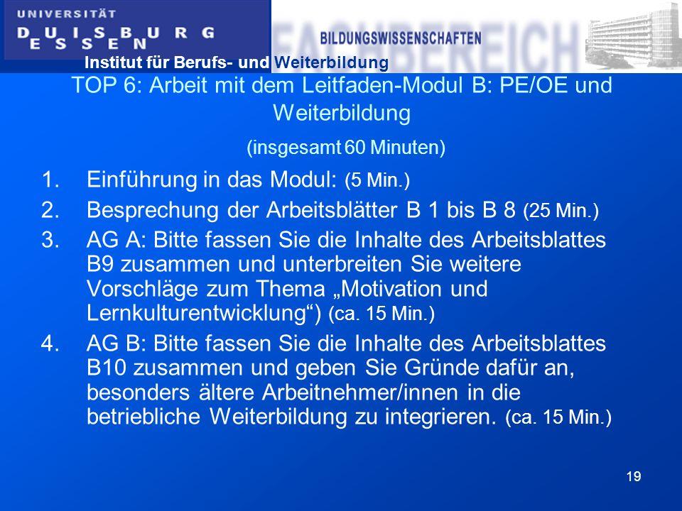 Institut für Berufs- und Weiterbildung 19 TOP 6: Arbeit mit dem Leitfaden-Modul B: PE/OE und Weiterbildung (insgesamt 60 Minuten) 1.Einführung in das
