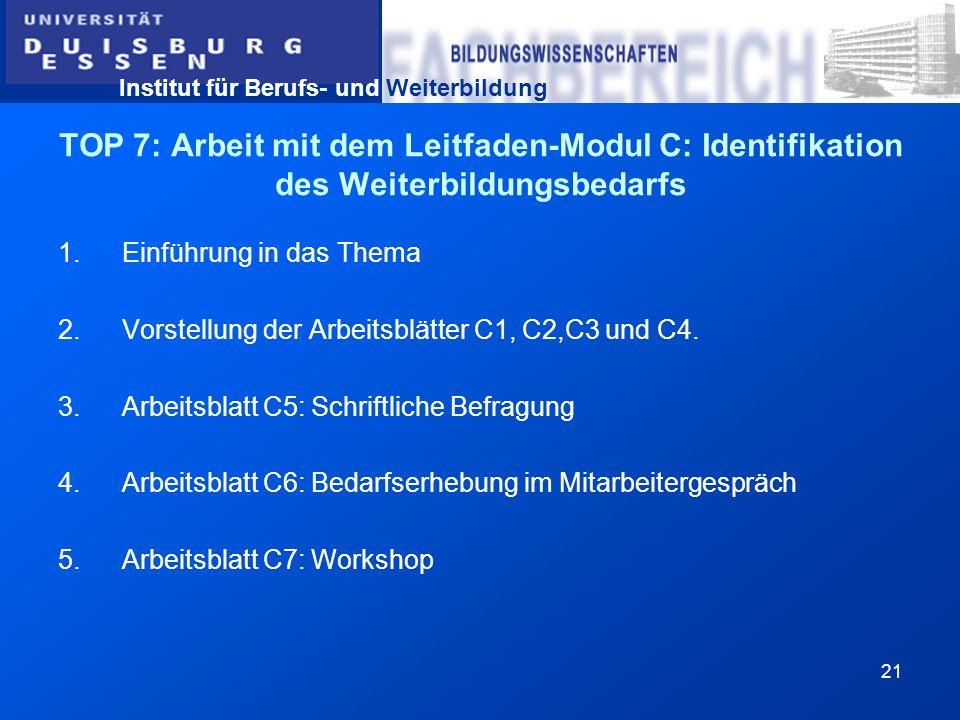 Institut für Berufs- und Weiterbildung 21 TOP 7: Arbeit mit dem Leitfaden-Modul C: Identifikation des Weiterbildungsbedarfs 1.Einführung in das Thema
