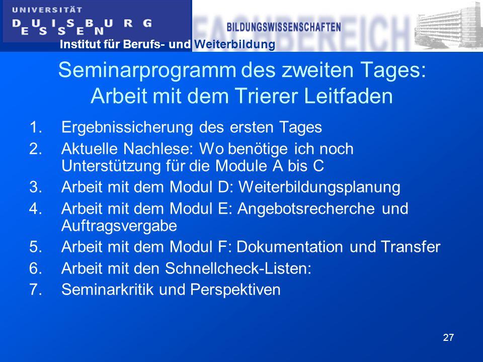 Institut für Berufs- und Weiterbildung 27 Seminarprogramm des zweiten Tages: Arbeit mit dem Trierer Leitfaden 1.Ergebnissicherung des ersten Tages 2.A
