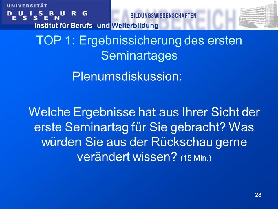 Institut für Berufs- und Weiterbildung 28 TOP 1: Ergebnissicherung des ersten Seminartages Plenumsdiskussion: Welche Ergebnisse hat aus Ihrer Sicht de