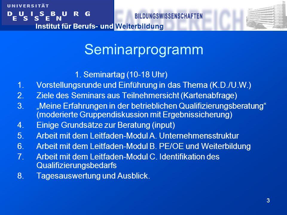 Institut für Berufs- und Weiterbildung 3 Seminarprogramm 1. Seminartag (10-18 Uhr) 1.Vorstellungsrunde und Einführung in das Thema (K.D./U.W.) 2.Ziele