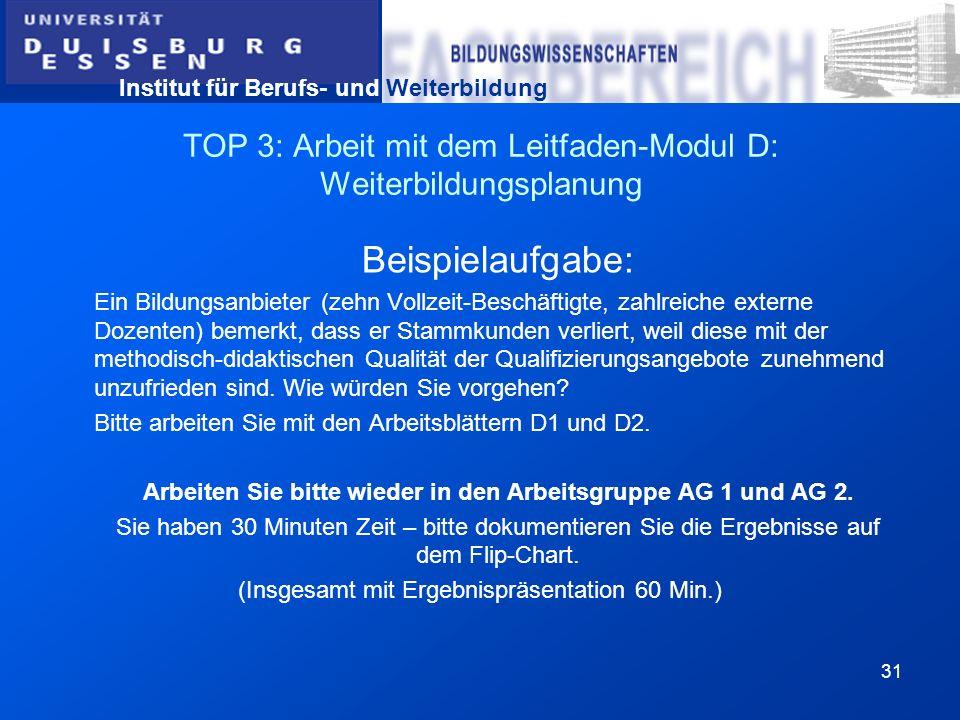 Institut für Berufs- und Weiterbildung 31 TOP 3: Arbeit mit dem Leitfaden-Modul D: Weiterbildungsplanung Beispielaufgabe: Ein Bildungsanbieter (zehn V