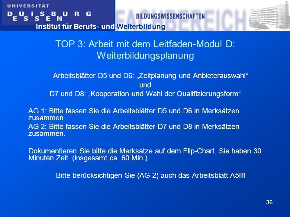 Institut für Berufs- und Weiterbildung 36 TOP 3: Arbeit mit dem Leitfaden-Modul D: Weiterbildungsplanung Arbeitsblätter D5 und D6: Zeitplanung und Anb