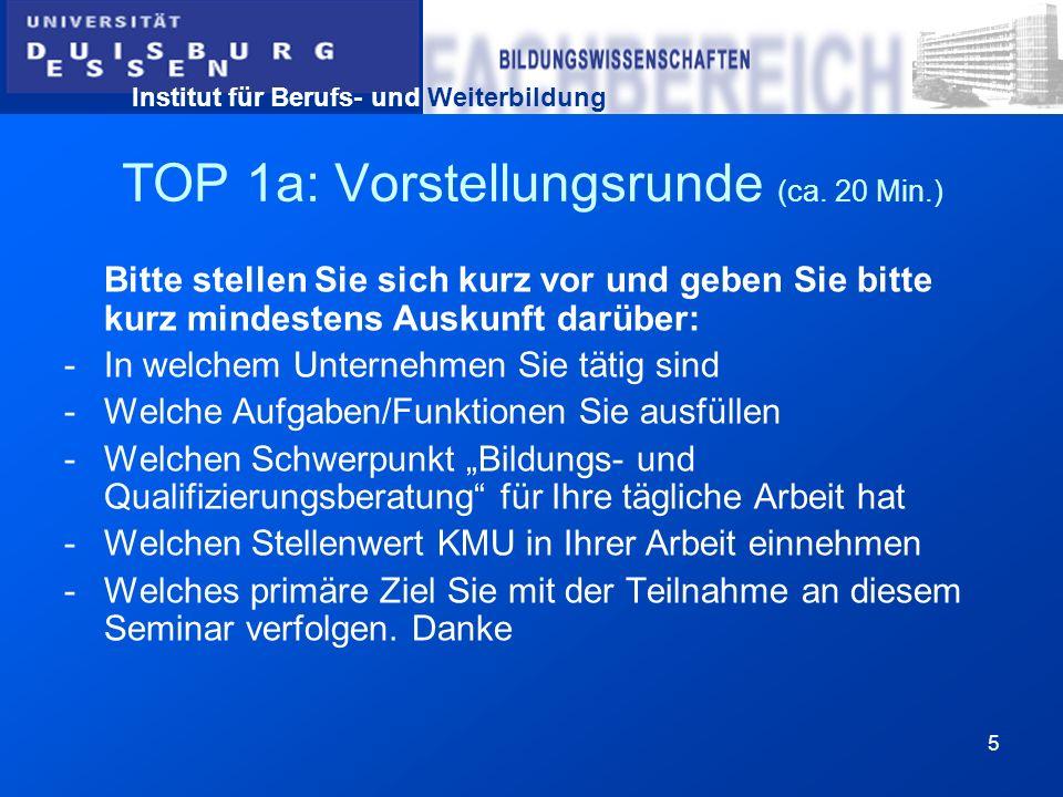 Institut für Berufs- und Weiterbildung 16 TOP 5: Arbeit mit dem Leitfaden-Modul A Unternehmensstrukturanalyse (ca.