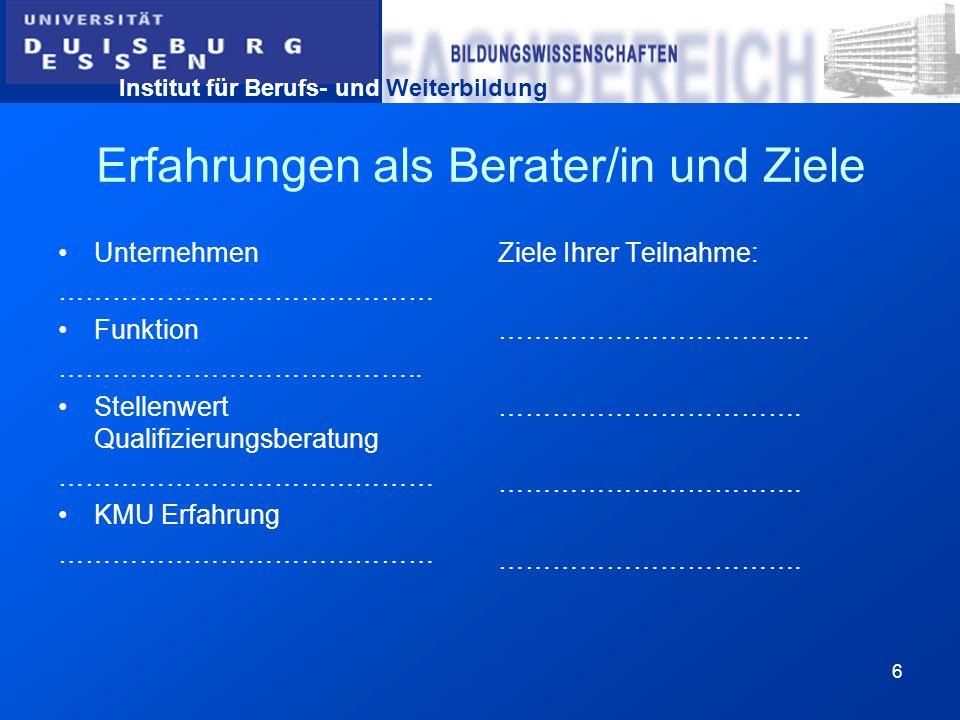 Institut für Berufs- und Weiterbildung 7 TOP 1b: Einführung in das Thema: Wettbewerbssicherung – Qualifizierung - Beratung und KMU (ca.