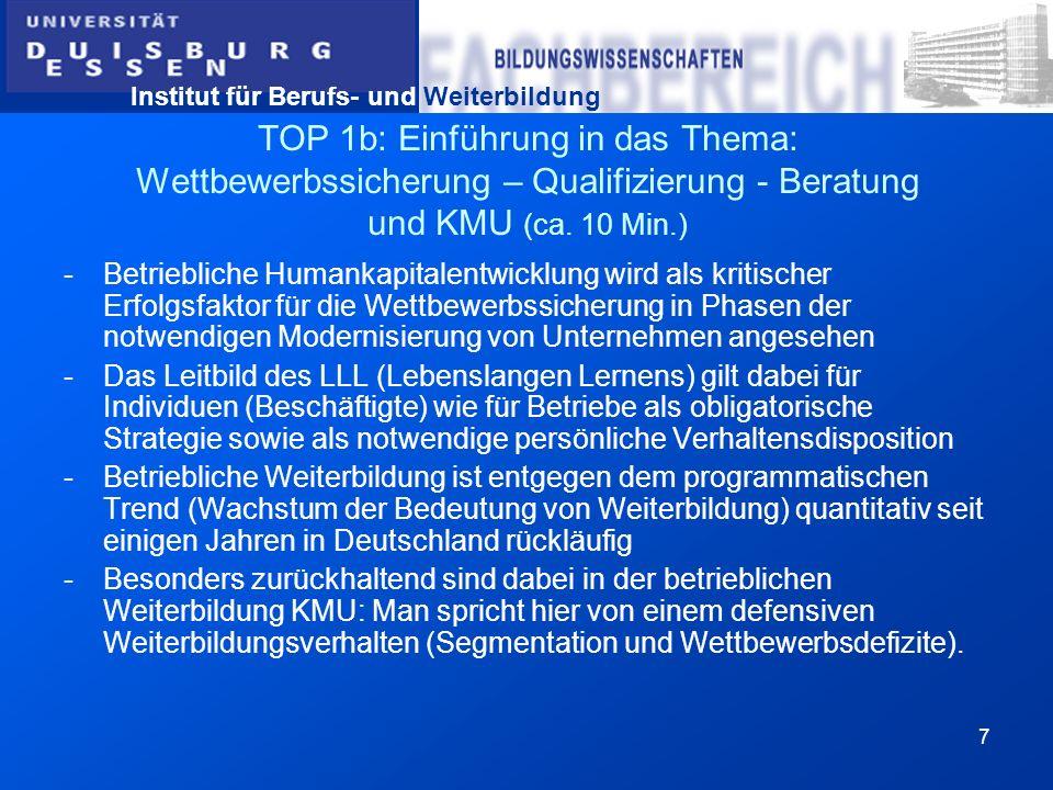 Institut für Berufs- und Weiterbildung 38 TOP 3: Arbeit mit dem Leitfaden-Modul D: Weiterbildungsplanung Arbeitsblatt D9 Bitte beachten Sie, dass es immer sehr ratsam ist, wie auf AB D9 beschrieben, nach Möglichkeiten der Systematisierung, der Zertifizierung bzw.