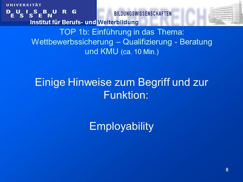 Institut für Berufs- und Weiterbildung 8 TOP 1b: Einführung in das Thema: Wettbewerbssicherung – Qualifizierung - Beratung und KMU (ca. 10 Min.) Einig