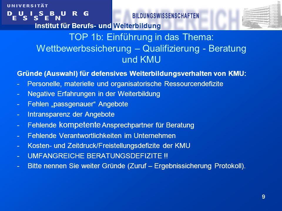 Institut für Berufs- und Weiterbildung 9 TOP 1b: Einführung in das Thema: Wettbewerbssicherung – Qualifizierung - Beratung und KMU Gründe (Auswahl) fü