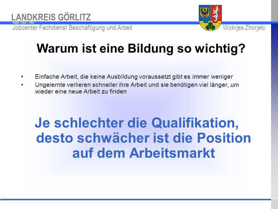 www.kreis-gr.de Jobcenter Fachdienst Beschäftigung und Arbeit Wokrjes Zhorjelc LANDKREIS GÖRLITZ Region Löbau / Zittau Warum ist eine Bildung so wicht