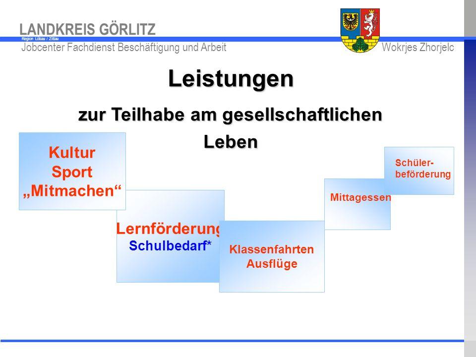 www.kreis-gr.de Jobcenter Fachdienst Beschäftigung und Arbeit Wokrjes Zhorjelc LANDKREIS GÖRLITZ Region Löbau / Zittau Lernförderung Schulbedarf* Kult