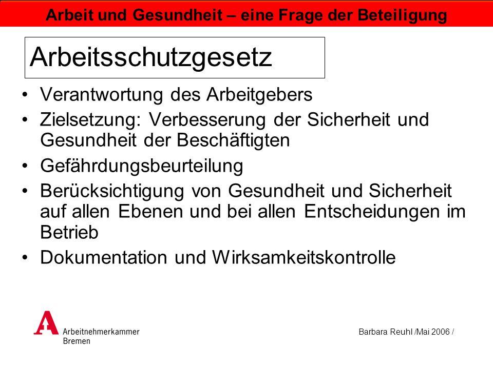 Barbara Reuhl /Mai 2006 / Arbeit und Gesundheit – eine Frage der Beteiligung Arbeitsschutzgesetz Verantwortung des Arbeitgebers Zielsetzung: Verbesser