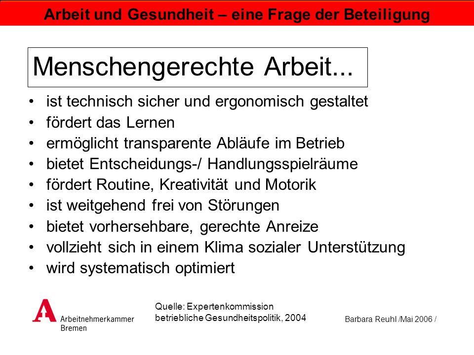 Barbara Reuhl /Mai 2006 / Arbeit und Gesundheit – eine Frage der Beteiligung Menschengerechte Arbeit... ist technisch sicher und ergonomisch gestaltet