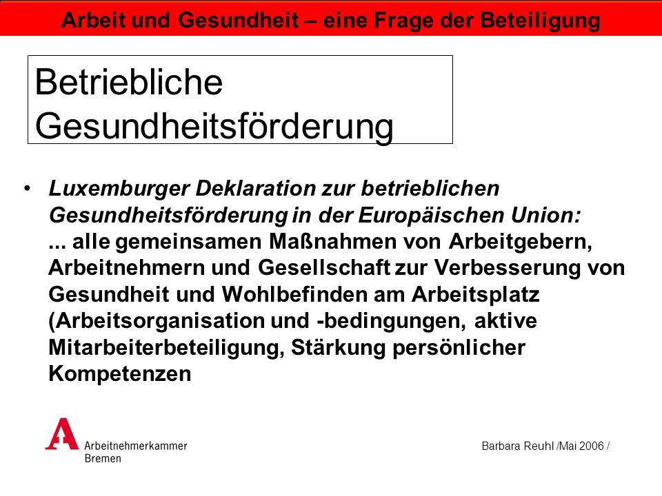Barbara Reuhl /Mai 2006 / Arbeit und Gesundheit – eine Frage der Beteiligung Betriebliche Gesundheitsförderung Luxemburger Deklaration zur betrieblich