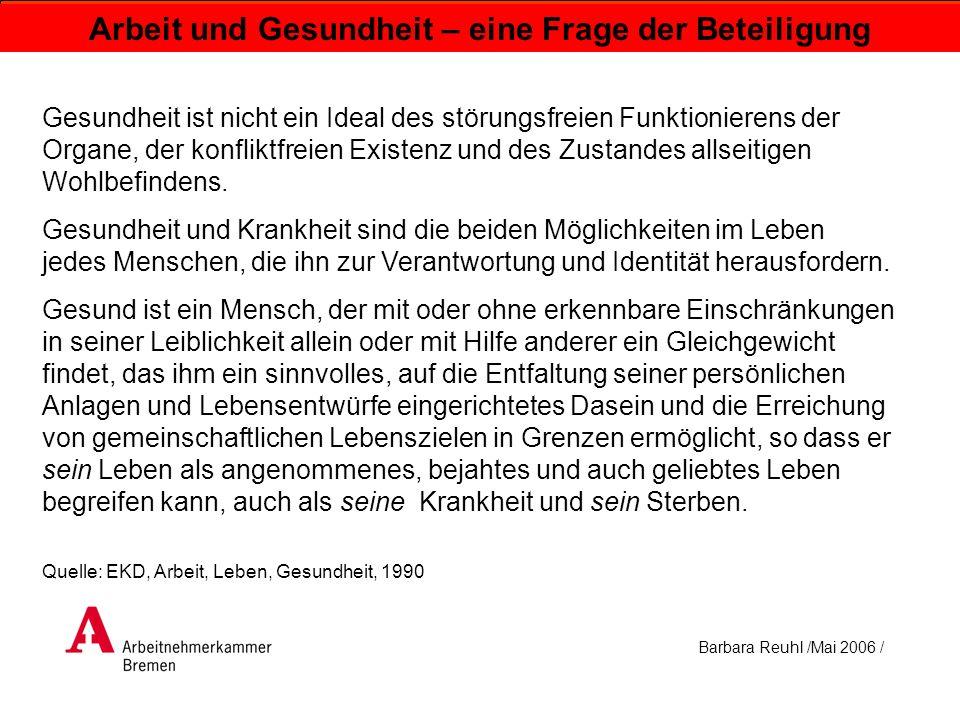 Barbara Reuhl /Mai 2006 / Arbeit und Gesundheit – eine Frage der Beteiligung Gesundheit ist nicht ein Ideal des störungsfreien Funktionierens der Orga