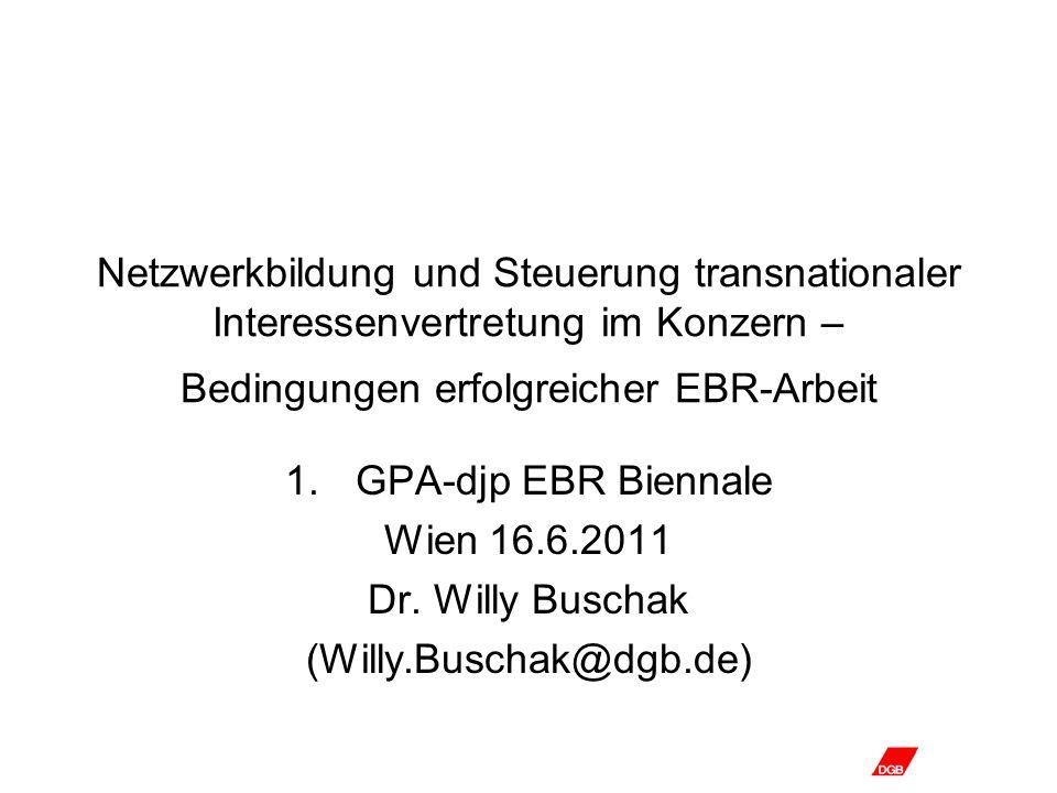 Netzwerkbildung und Steuerung transnationaler Interessenvertretung im Konzern – Bedingungen erfolgreicher EBR-Arbeit 1.GPA-djp EBR Biennale Wien 16.6.2011 Dr.
