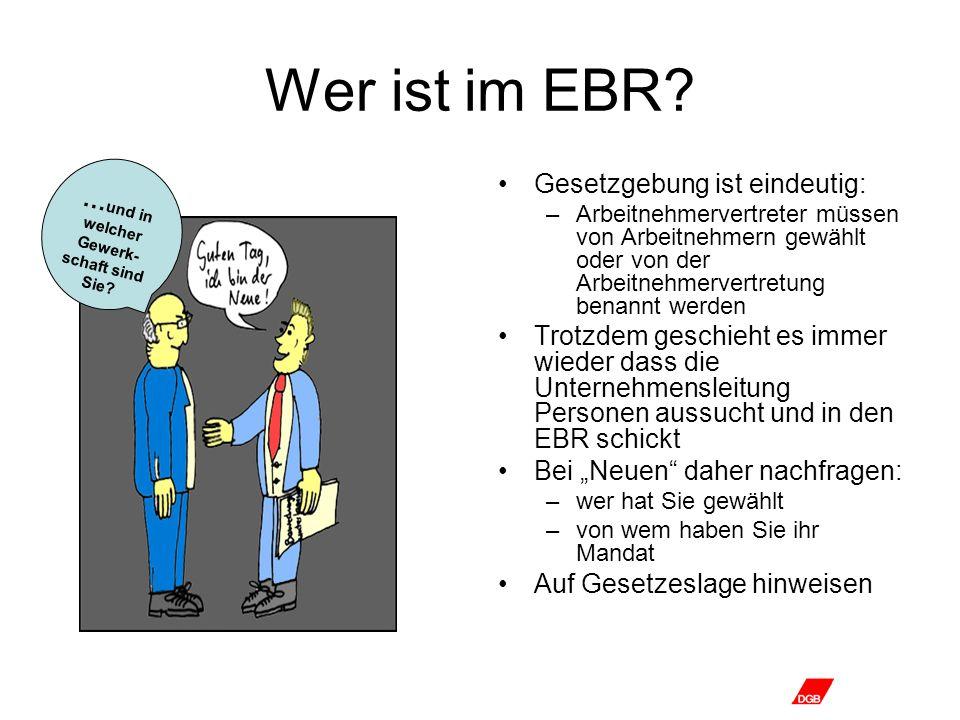 Wer ist im EBR? Gesetzgebung ist eindeutig: –Arbeitnehmervertreter müssen von Arbeitnehmern gewählt oder von der Arbeitnehmervertretung benannt werden