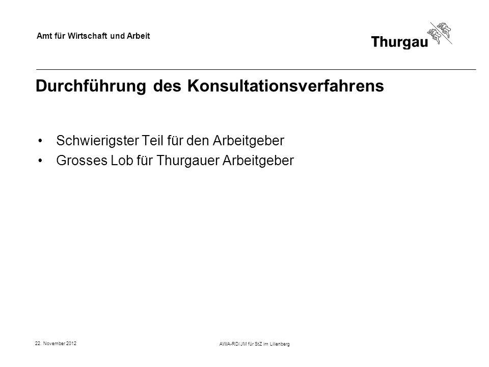Amt für Wirtschaft und Arbeit 22. November 2012 AWA-RD/JM für StZ im Lilienberg Durchführung des Konsultationsverfahrens Schwierigster Teil für den Ar