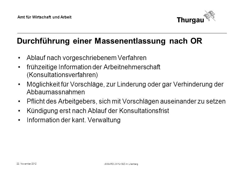 Amt für Wirtschaft und Arbeit 22. November 2012 AWA-RD/JM für StZ im Lilienberg Durchführung einer Massenentlassung nach OR Ablauf nach vorgeschrieben