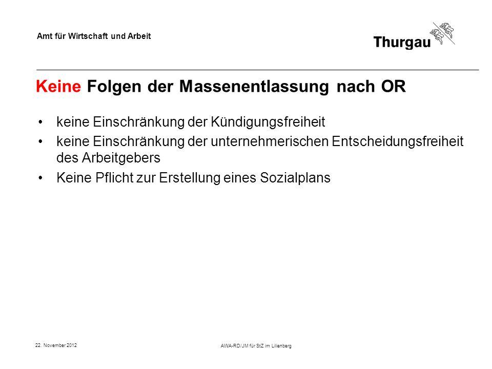 Amt für Wirtschaft und Arbeit 22. November 2012 AWA-RD/JM für StZ im Lilienberg Keine Folgen der Massenentlassung nach OR keine Einschränkung der Künd