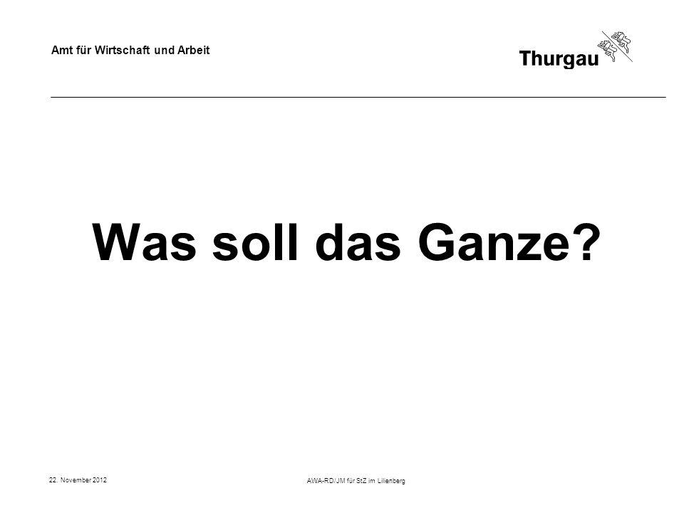 Amt für Wirtschaft und Arbeit 22. November 2012 AWA-RD/JM für StZ im Lilienberg Was soll das Ganze?
