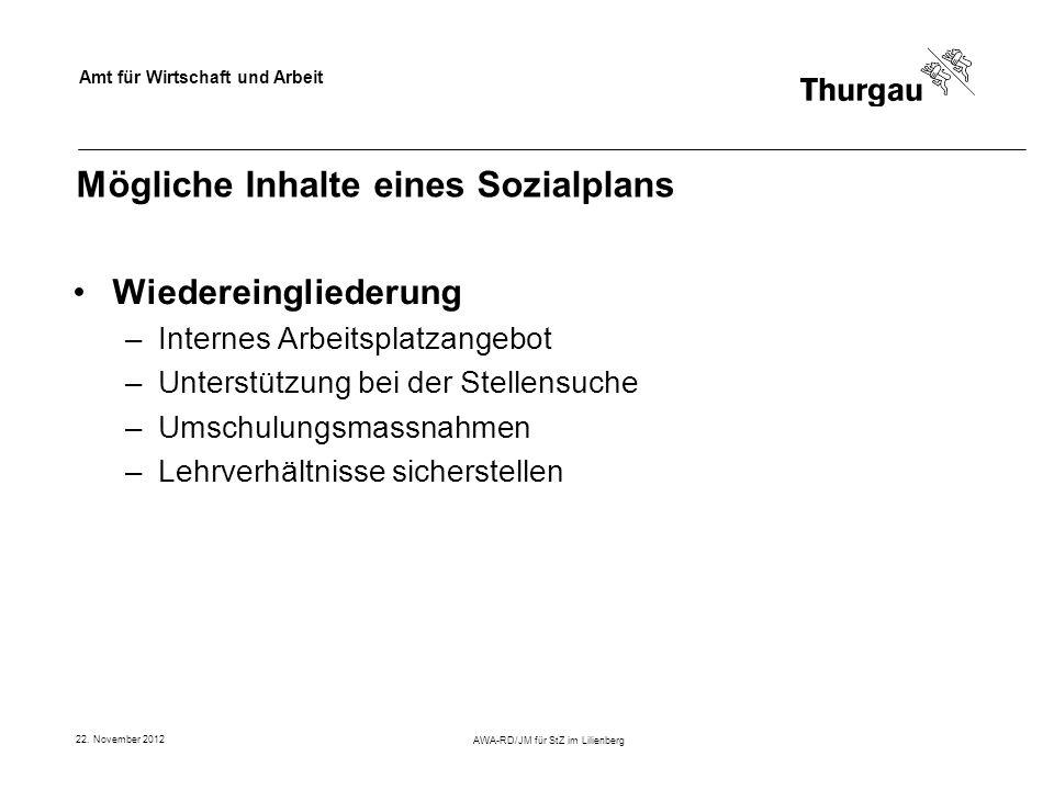 Amt für Wirtschaft und Arbeit 22. November 2012 AWA-RD/JM für StZ im Lilienberg Mögliche Inhalte eines Sozialplans Wiedereingliederung –Internes Arbei