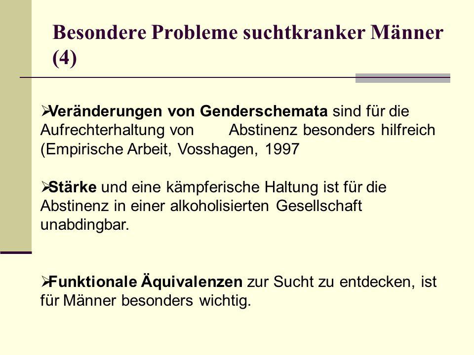 Besondere Probleme suchtkranker Männer (4) Veränderungen von Genderschemata sind für die Aufrechterhaltung von Abstinenz besonders hilfreich (Empirisc